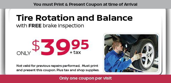 Rotate-Balance Tires Special, Dallas Area Automotive Service Coupon